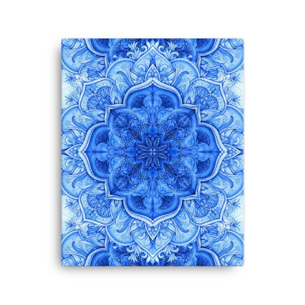 Continous blue moroccan floral Canvas - Hutsylife - 2