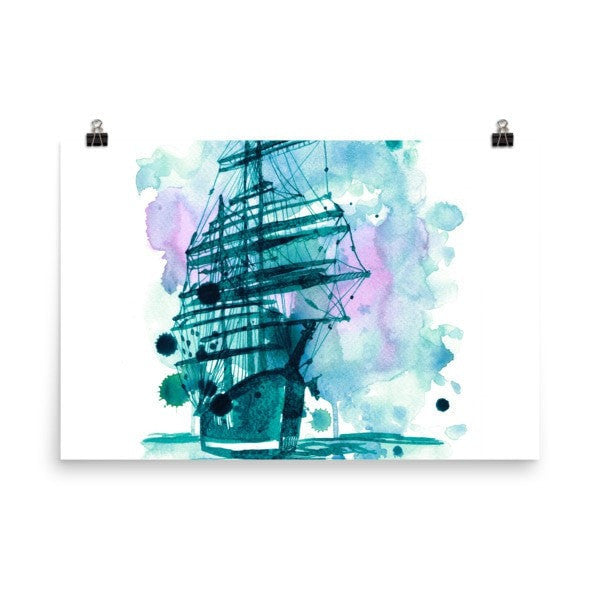 Watercolor ship Poster - Hutsylife - 9