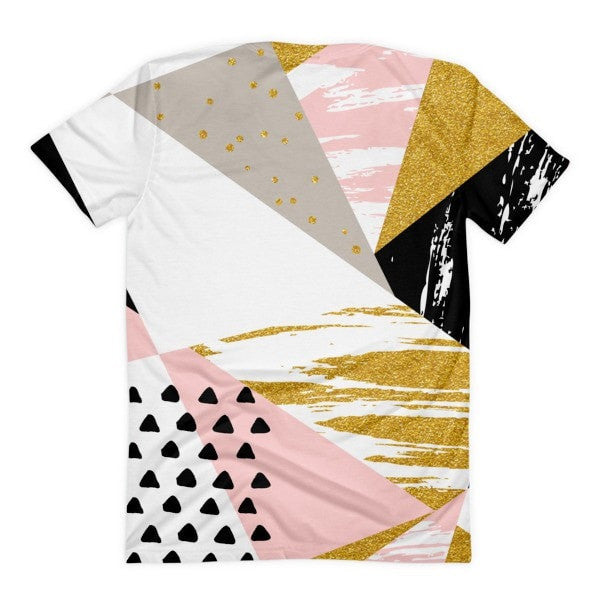 All over print - Gold & Black geometric  Women's sublimation t-shirt - Hutsylife - 2