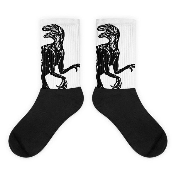 Velociraptor stare Black foot socks