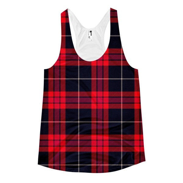 All over print - Plaid Women's Racerback Tank - Hutsylife - 1