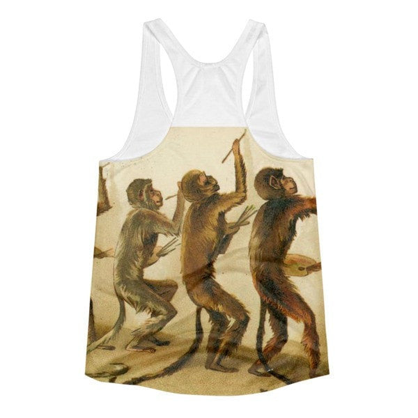 All over print - Women's Racerback Monkey painting Tank - Hutsylife - 2