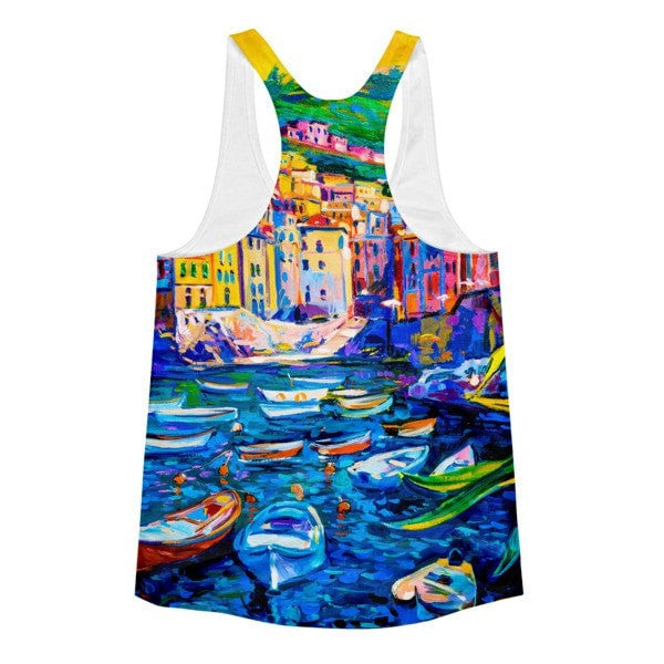 All over print - Boat town Women's Racerback Tank - Hutsylife - 2