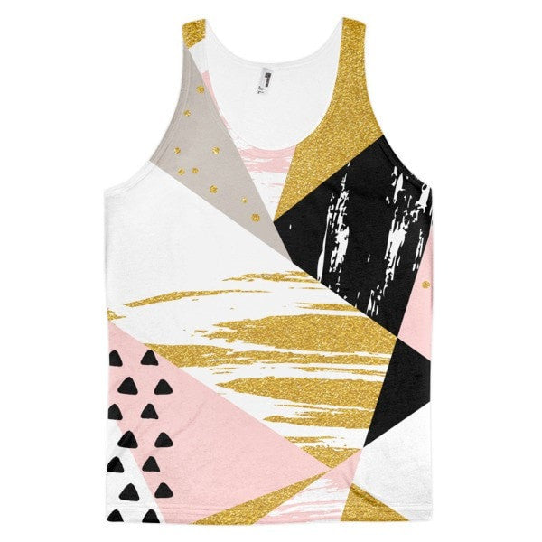 All over print - Gold & Black geometric Classic fit men's tank top - Hutsylife - 1