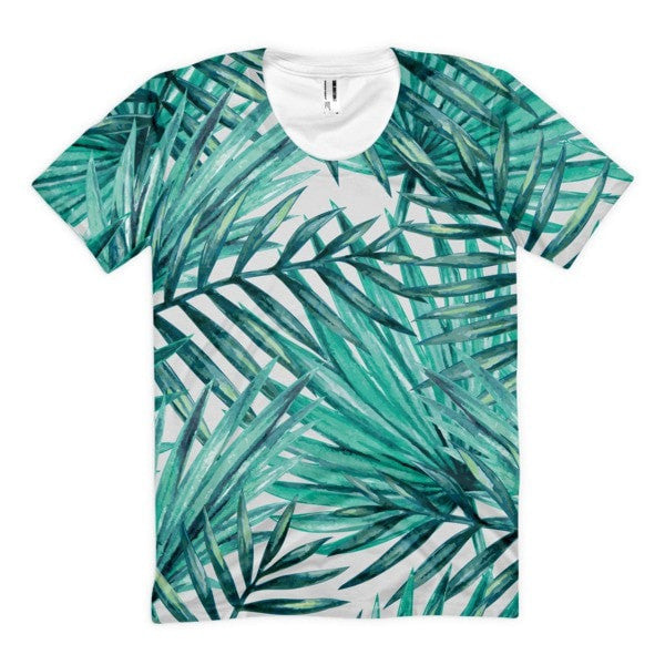 All over print - Tropical Hidden leaf Women's Sublimation T-Shirt - Hutsylife - 1