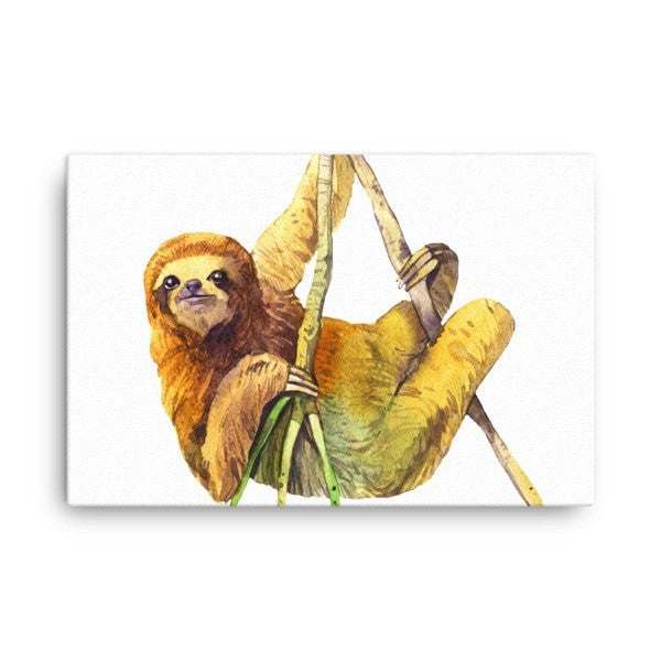 Watercolor Sloth Canvas - Hutsylife - 4