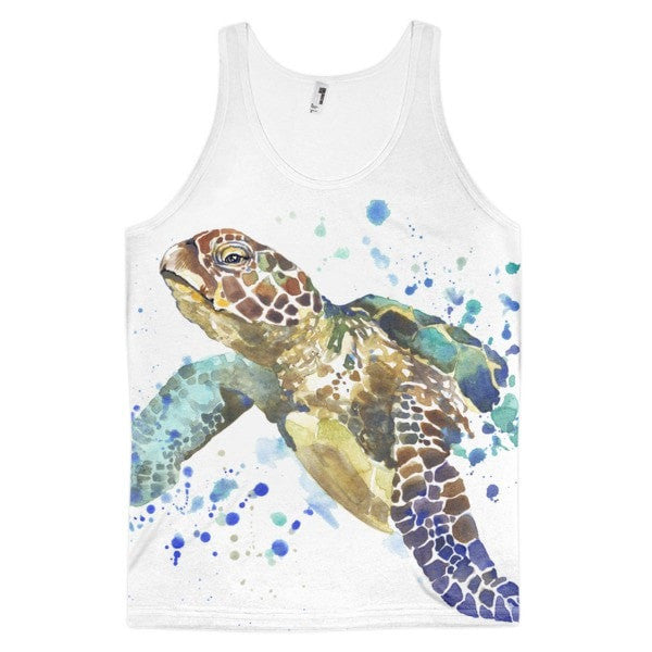 Classic fit Watercolor turtle Men's tank top - Hutsylife