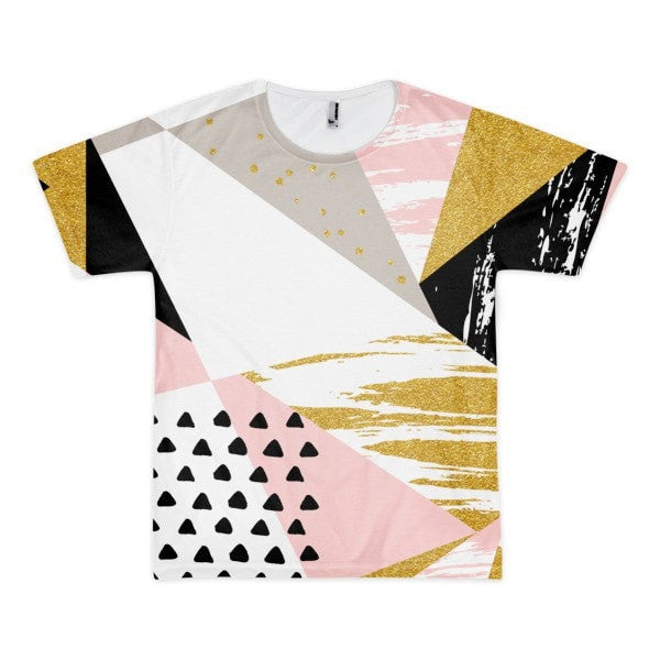 All over print - Gold & Black geometric Short sleeve men's t-shirt