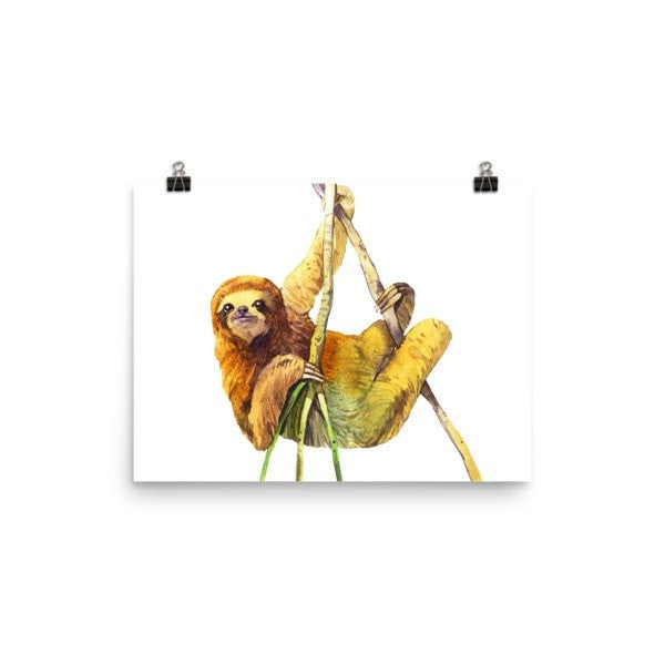 Watercolor Sloth Poster - Hutsylife - 5