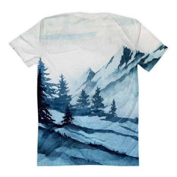 All over print - Watercolor mountain Women's Sublimation T-Shirt - Hutsylife - 2