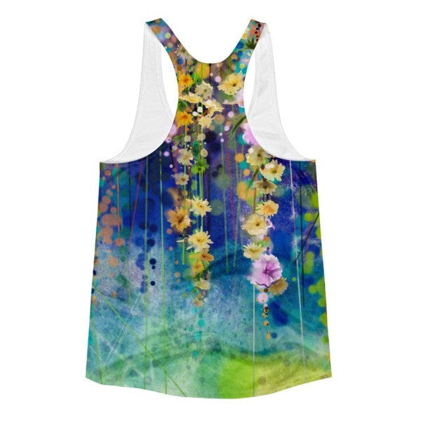 All over print - Floral lush Women's Racerback Tank - Hutsylife - 2