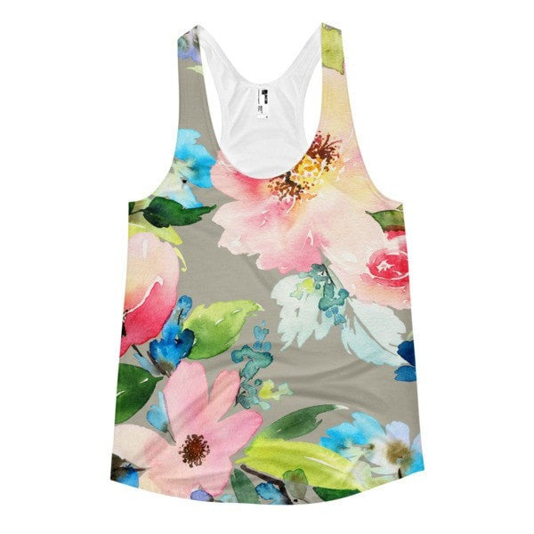 All over print - Watercolor flower Women's Racerback Tank - Hutsylife - 1