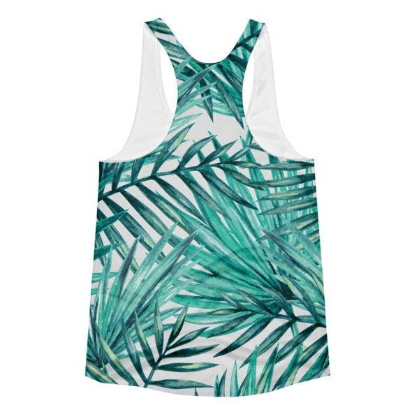 All over print - Tropical Hidden leaf Women's Racerback Tank - Hutsylife - 2