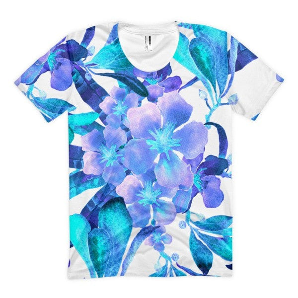 All over print - Light blue flow Women's sublimation t-shirt - Hutsylife - 1