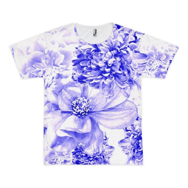 All over print - Indigo floral Short sleeve men's t-shirt - Hutsylife - 1