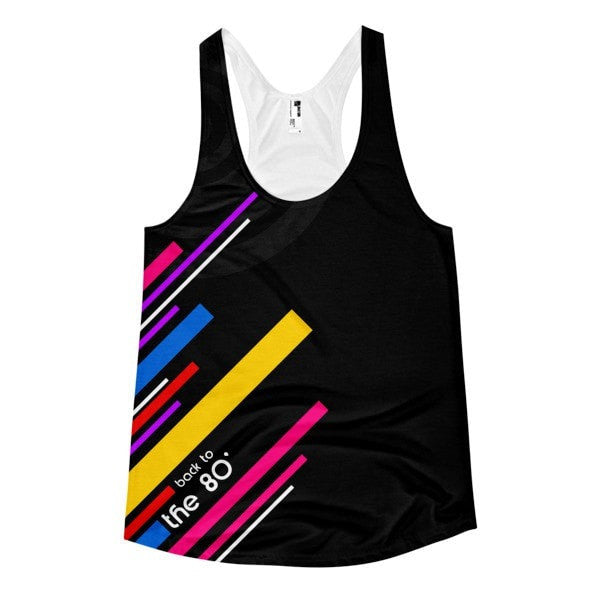 All over print- Back to the 80's Women's racerback tank - Hutsylife - 1