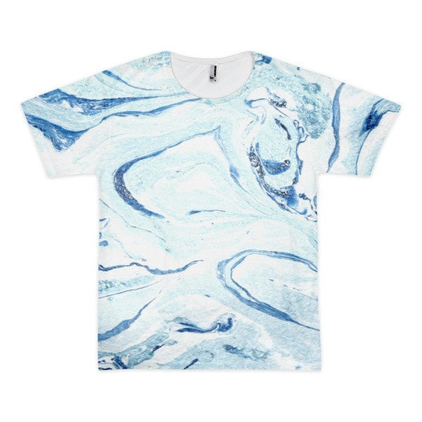 All over print - Aqua marble Short sleeve men's t-shirt - Hutsylife - 1