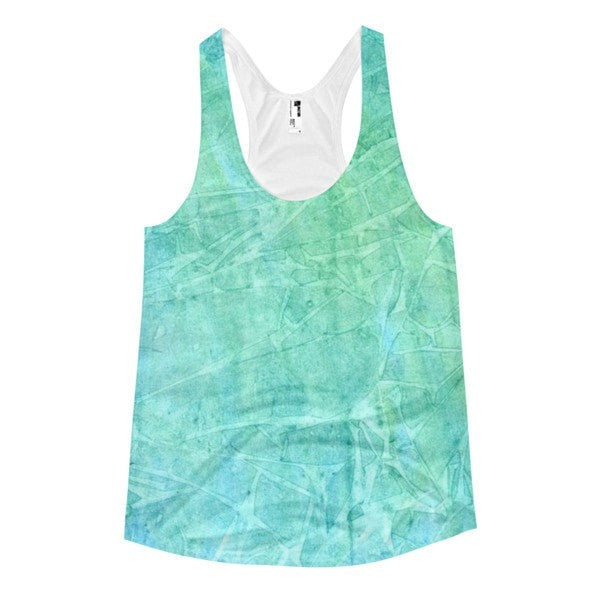 All over print - Women's Racerback Blue Watercolor Tank