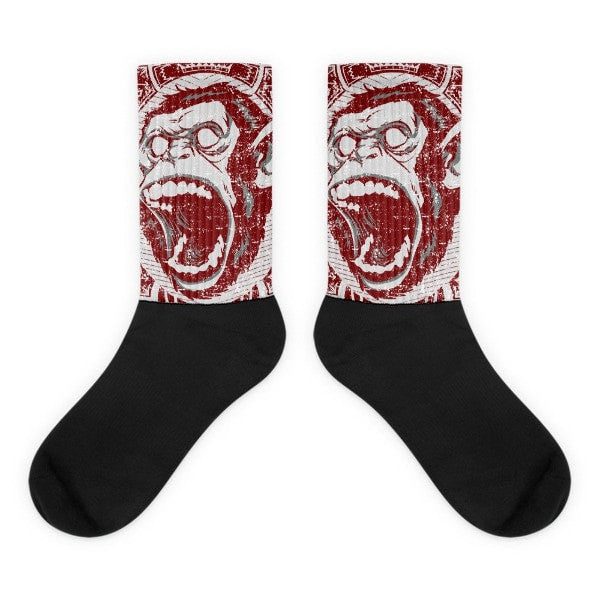 Angry monkey Black foot socks