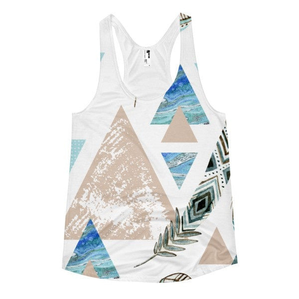 All over print - Geometric 80's grunge Women's racerback tank - Hutsylife - 1