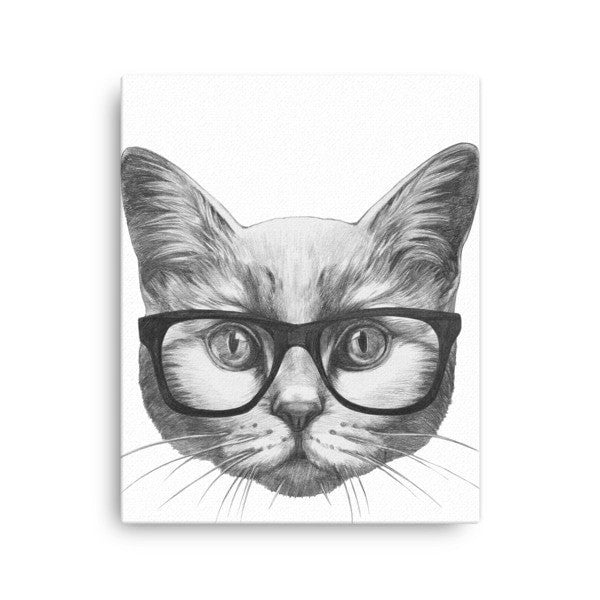 Eyeglass cat Canvas - Hutsylife - 2