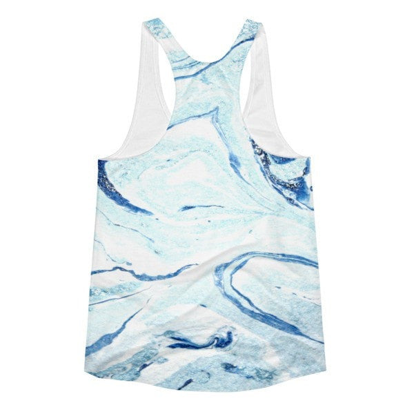 All over print - Aqua marble Women's racerback tank - Hutsylife - 2
