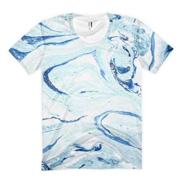 All over print - Aqua marble Women's sublimation t-shirt - Hutsylife - 1