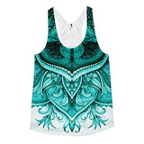 All over print - Upside down Teal floral Women's Racerback Tank - Hutsylife - 1