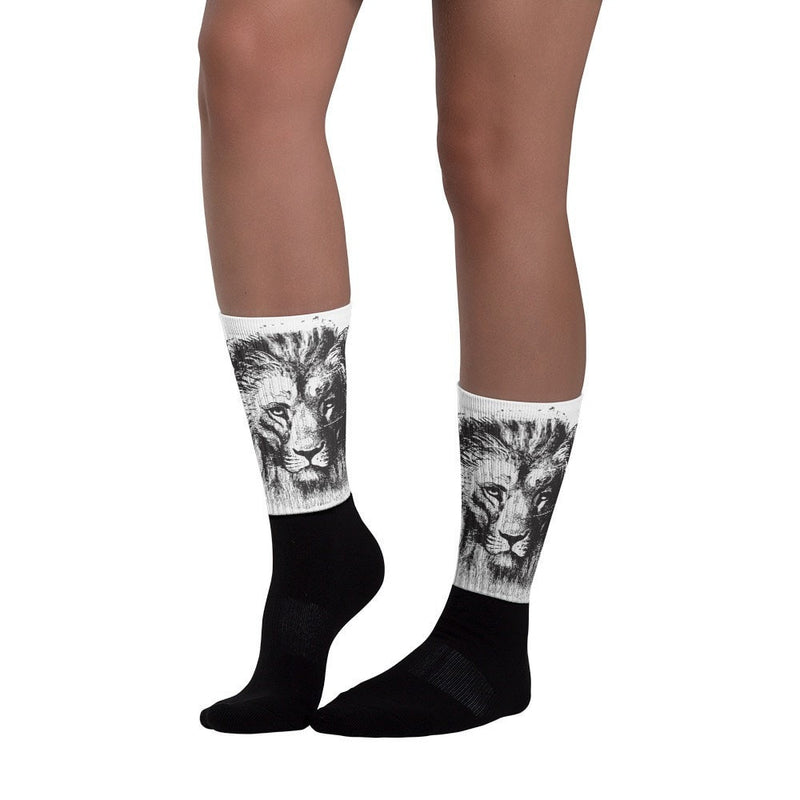 Lion's stare Black foot socks