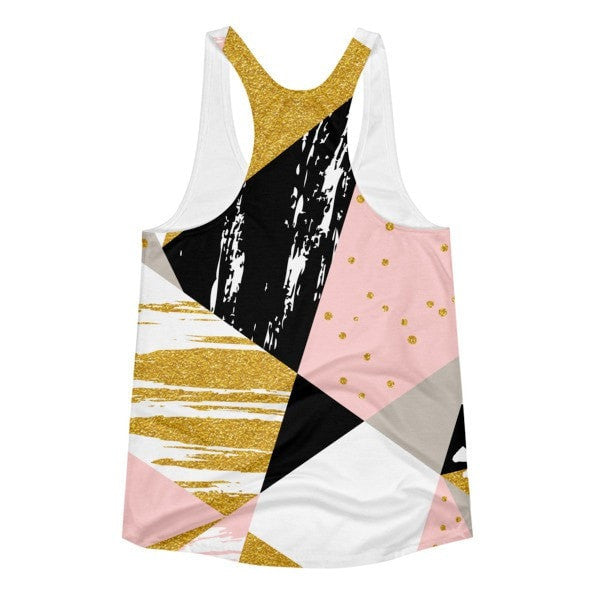 All over print - Gold & Black geometric Women's racerback tank - Hutsylife - 2