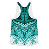 All over print - Upside down Teal floral Women's Racerback Tank - Hutsylife - 2