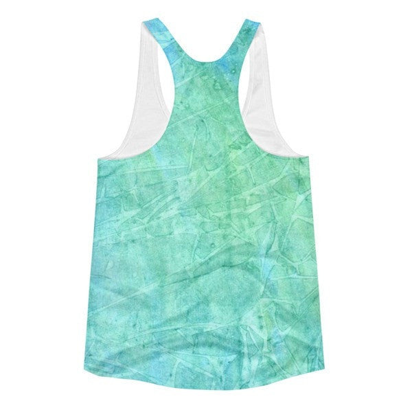 All over print - Women's Racerback Blue Watercolor Tank - Hutsylife - 2