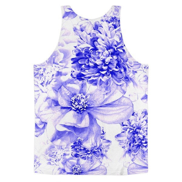 All over print - Indigo floral Classic fit men's tank top - Hutsylife - 2
