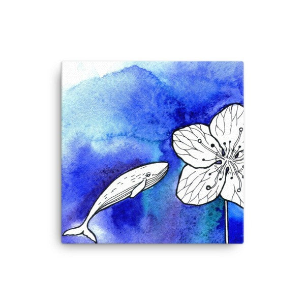 Whale meets flower Canvas - Hutsylife - 1