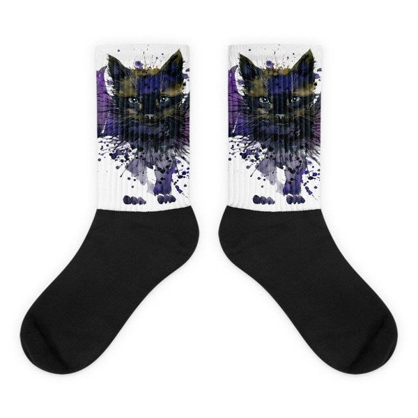 Bat cat Black foot socks