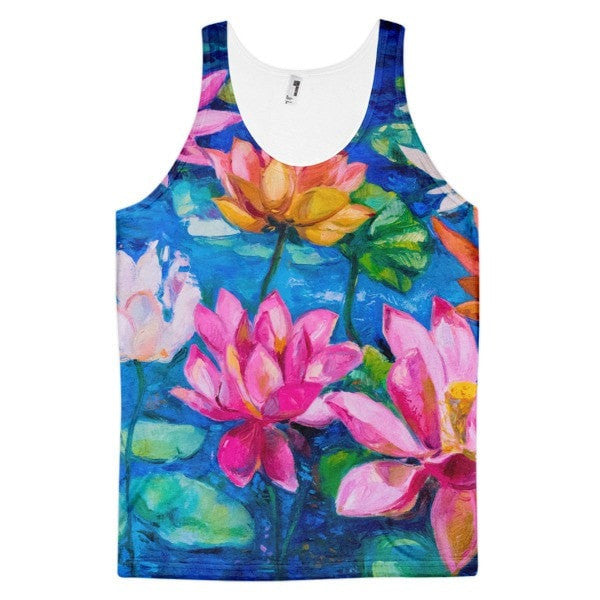 All over print - Lily pad Classic fit men's tank top - Hutsylife - 1