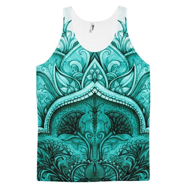 All over print - Regular teal Moroccan floral Classic fit men's tank top - Hutsylife - 1