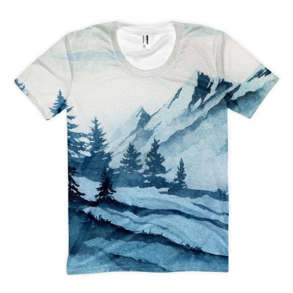 All over print - Watercolor mountain Women's Sublimation T-Shirt - Hutsylife - 1