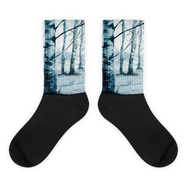 Birch tree Black foot socks - Hutsylife