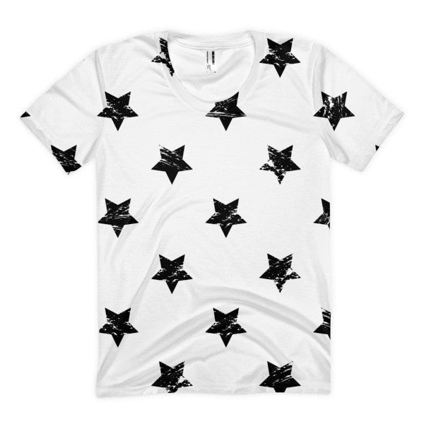 All over print - White star Women's Sublimation T-Shirt - Hutsylife - 1
