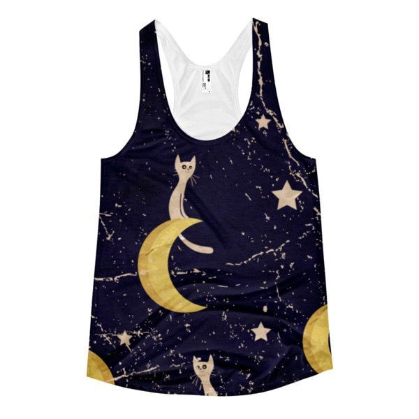 All over print - Moon cat Women's Racerback Tank - Hutsylife - 1