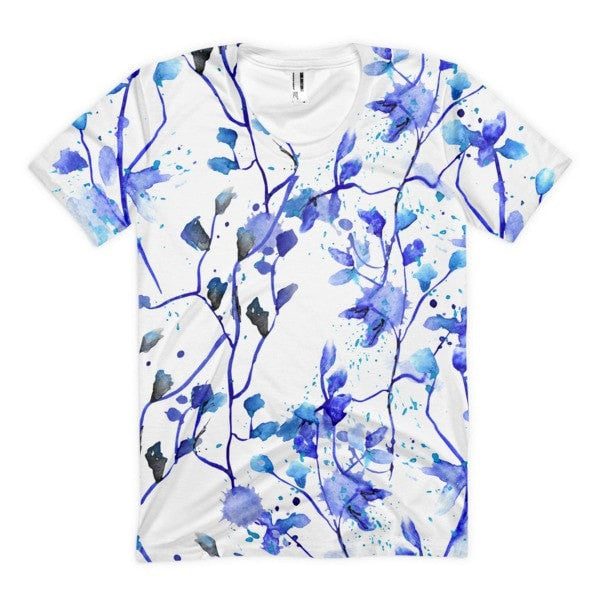 All over print - Blue vine Women's sublimation t-shirt - Hutsylife - 1