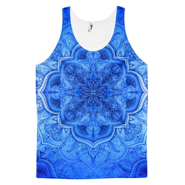 All over print - Blue Moroccan floral Classic fit men's tank top - Hutsylife - 1