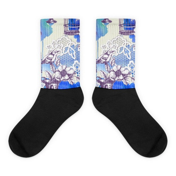 Bird Romance Black foot socks - Hutsylife