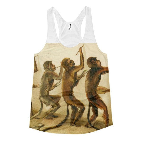 All over print - Women's Racerback Monkey painting Tank - Hutsylife - 1