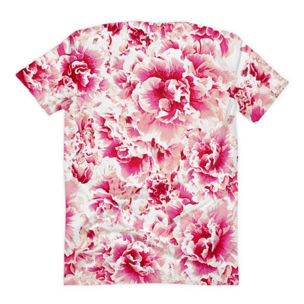 All over print - Pink floral Women's Sublimation T-Shirt - Hutsylife - 2