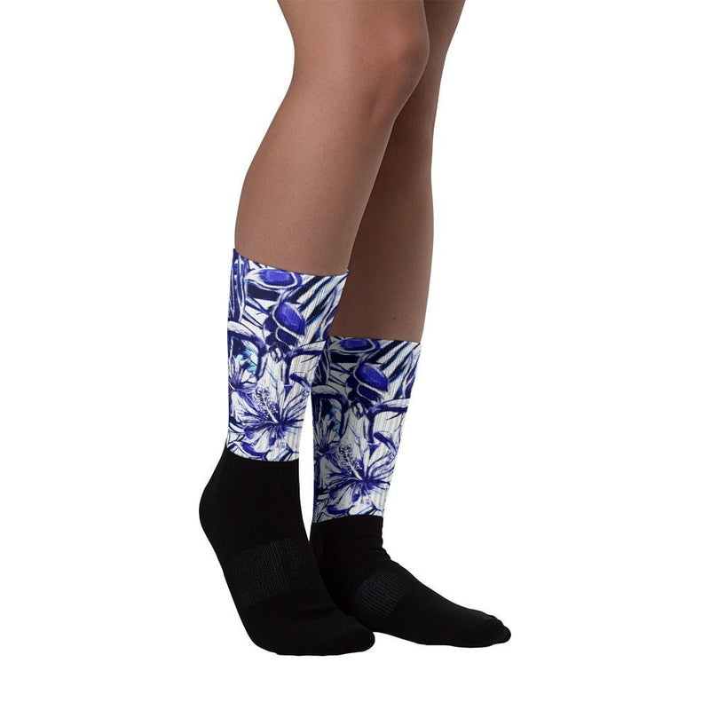 Blue steel Black foot socks