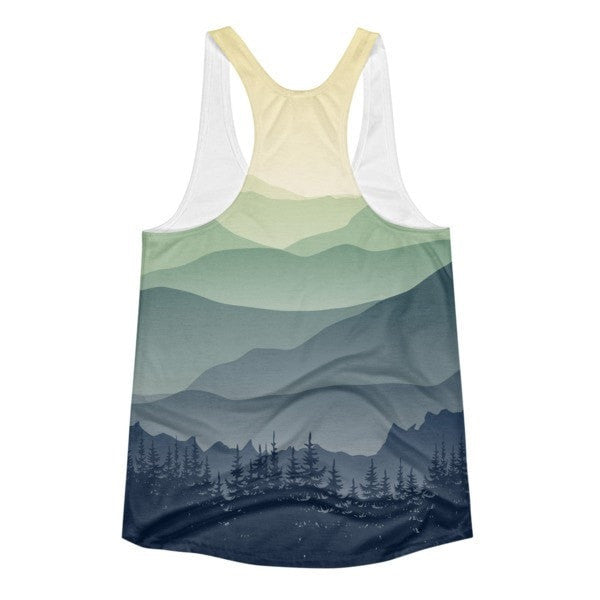 All over print - Mountain fog Women's Racerback Tank - Hutsylife - 2
