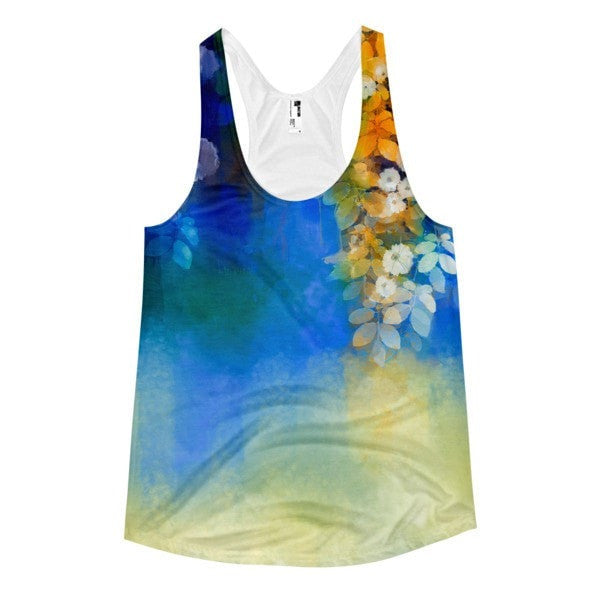 All over print - Blue lush Women's Racerback Tank - Hutsylife - 1