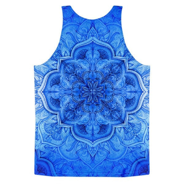 All over print - Blue Moroccan floral Classic fit men's tank top - Hutsylife - 2